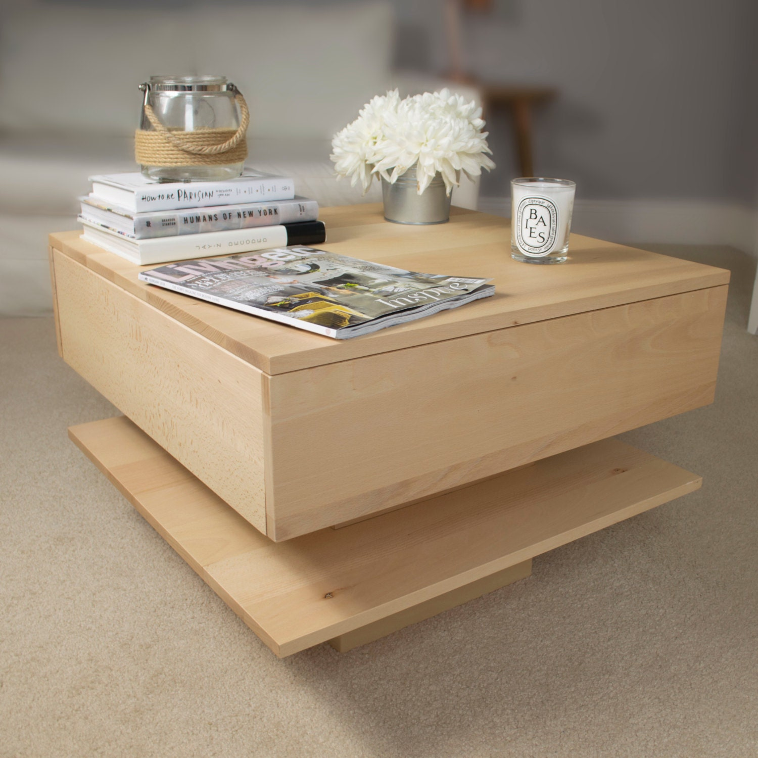 Floating Coffee Table With Shelf By Urbansize On Etsy