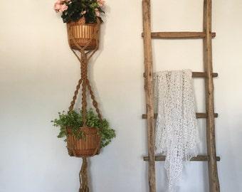 Vintage Macrame Double Plant Hanger