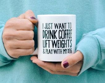 Coffee, Weights, & Dog Coffee Mug