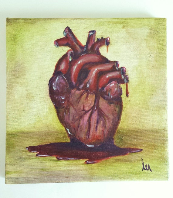 Human Heart Painting Oil Paint on 8 x 8 Back