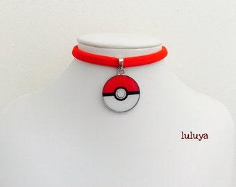 Red Handmade Stretch Choker Necklace Pokemon Red Pokeball Charm Gift Birthday Favor
