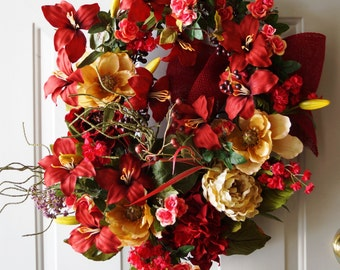 Red Wreath Burgundy Summer Wreath Oval Shape Lily Flowers Cream Magnolia Peony Roses and Berries, Ready to Ship