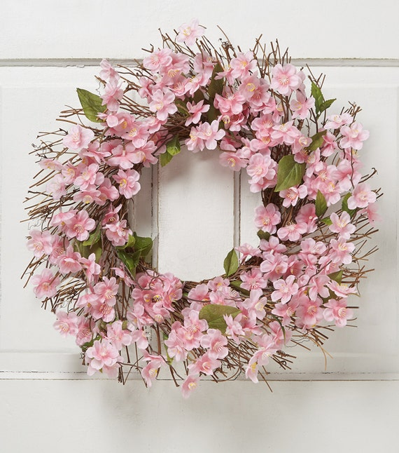 Spring Wreath Pink Flowers Wreathfront Door Wreath Cherry