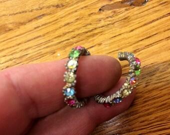 Vintage Multi Color Rhinestone Hoop Earrings