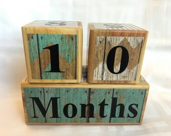 Age Blocks for Baby and Pregnancy: Maternity Photo Prop - Wooden Age Blocks - Baby Age Blocks - Baby Photo Prop