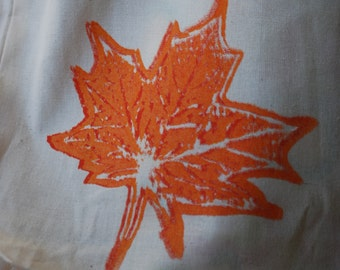 Leaf Print Canvas Bag, Reusable Shopping Bag, Farmer's Market Bag