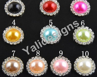 Set of 10pcs 20mm PEARL RHINESTONE Flat Back Cabochons Rhinestone Buttons Metal Cabochon Pearl  Flatback Button DIY Embellishment-YTB80