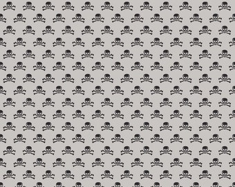 Haunting Skull gray fabric by Riley Blake from Deena Rutter Happy Haunting collection gray skull halloween print fabric