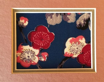 Vintage kimono art, 2 matted 1930s pieces, mums & plum blossoms, work for horizontal or vertical placement, SALE 18 dollars for both