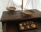 19th century gold scale in wood case, Antique scale, Apothecary decor, brass scale, medical antiquity