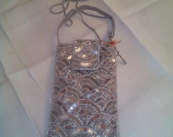 Moshi handbag silver embroidered 10 x 15 cm. Mint unused