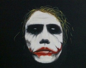 Heath Ledger as the Joker Dark Knight painting OOAK Original Abstract 14 x 11 Batman