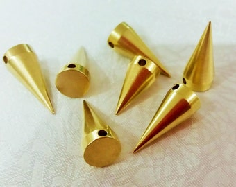 100 Pcs Raw Brass 8 x 19 mm Industrial Spike Findings , Charms , Spike Brass - 2.2 mm Hole
