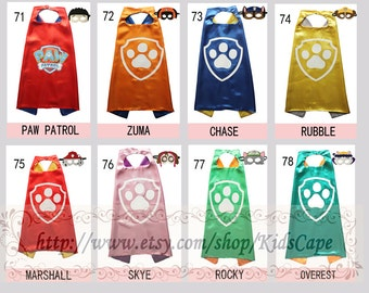 Paw birthday supplies - Paw capes and masks - paw costume - patrol party favors for boys and girls