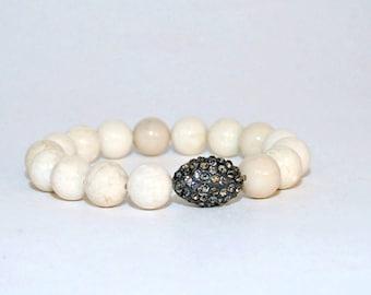 Cream Riverstone Beaded Bracelet, Riverstone Cubic Zirconia Bead Bracelet, White Friendship Bracelet, Riverstone Beads, Riverstone Jewelry