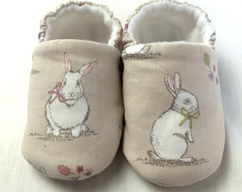 Soft sole cute little bunny baby shoes, crib shoes, slip on shoe. New Baby gift. Baby girls cotton slip on shoe, cloth shoe.