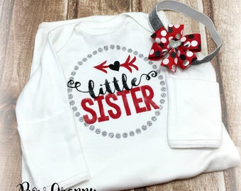 Little Sister Gown, Baby Shower Gift, Coming Home Outfit, Newborn Girl Hospital Take Home Outfit, , Baby Girl Gown, New Baby Gift