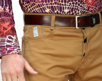 Chino mens pants in khaki gold coloured cotton twill