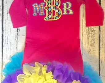 Applique Monogrammed Personalized Infant Gown