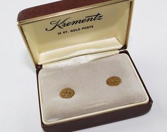 Krementz 14k Gold Post Capricorn Earrings New in Box, J186