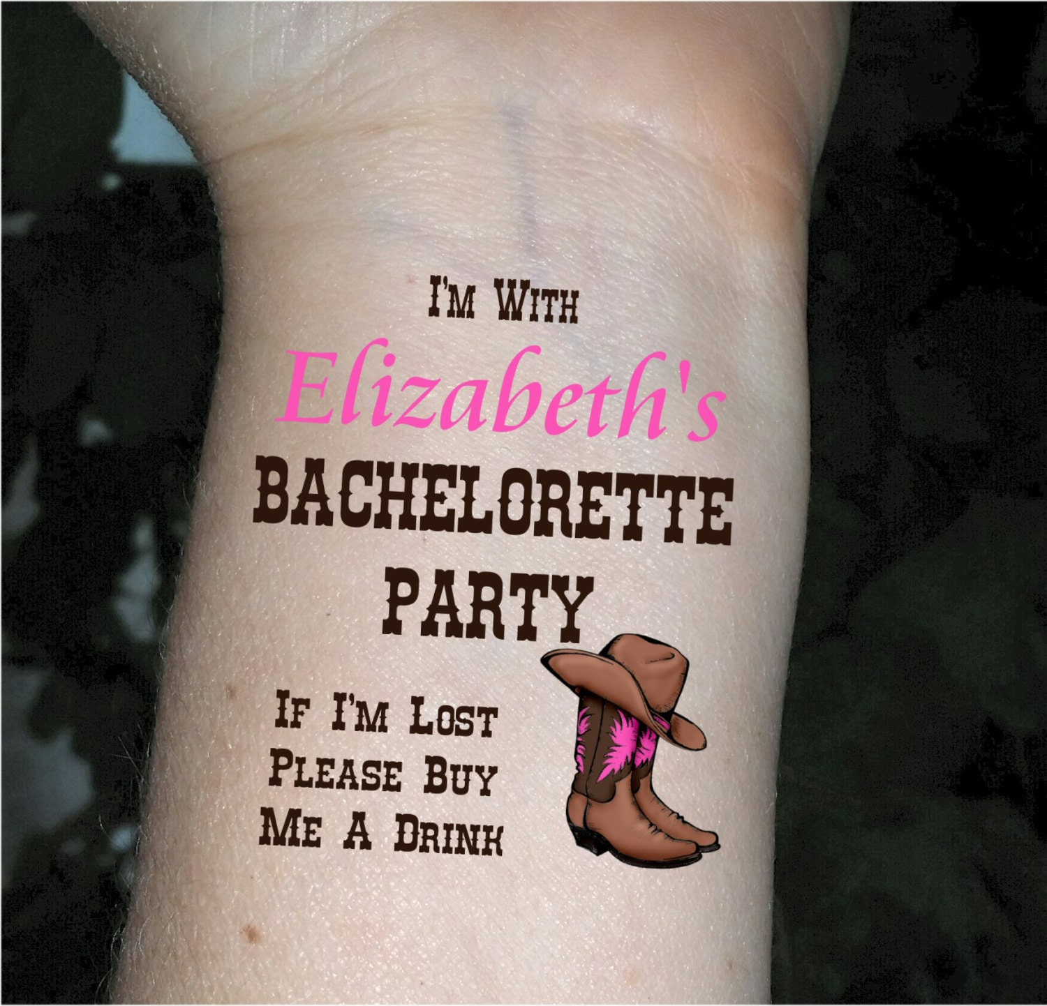 Bachelorette party tattoos cowgirl boots cowboy boots western for Bachelorette party tattoos
