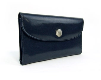 Sale | 1990 Vintage Wallet | Large Navy Blue Leather Wallet, Coin Purse for Women | Card Holder | Tilley