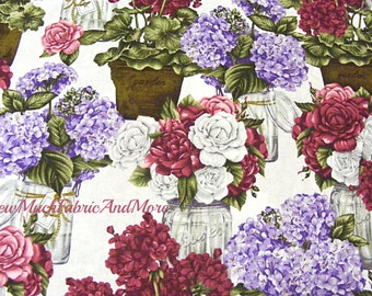 Cottage Flowers in mason jars fabric~By the yd~ Robert Kaufman~Mary Lake Thompson~roses~floral~flowers~jars~potted plants~garden~12107