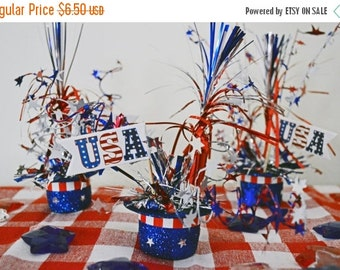 4th of July, Patriotic Top Hats Table Decoration , Fourth of July, Patriotic Table Decoration, Ready to Ship!
