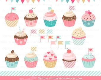 Sweet Cupcakes Clip Art - Instant  Download - CA053