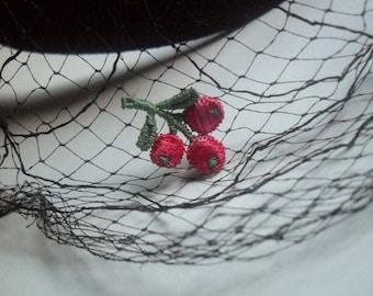 Black/Cherries Fascinator With Veil 40's, 50's....