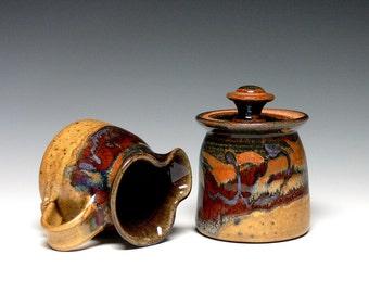 Pottery Sugar and Creamer Set, Cream Pitcher, Ceramic Sugar Bowl, Stoneware Pitcher