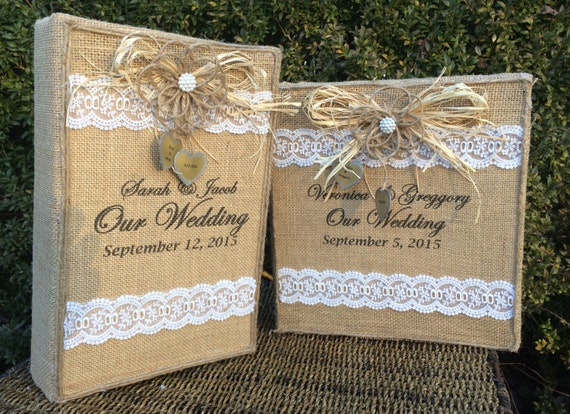 Two 2 Rustic Wedding Albums Burlap Photo By BurlapCreationsNC