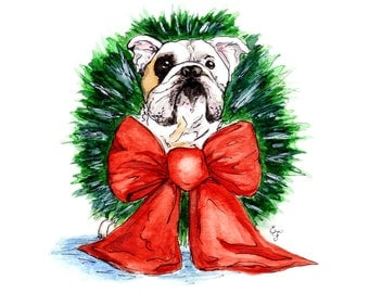 Christmas Bulldog, Watercolor Print, 8x10 11x14