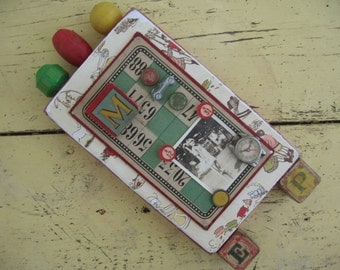 "Handcrafted Collage ""GAMES"" from Reclaimed Vintage Porch Wood, Old Game Tokens, Vintage Building Blocks. Vintage Photo"