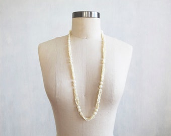 Coming soon... vintage white mother of pearl necklace / white cream multi strand beaded necklace