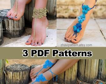 THREE Crochet Patterns: Barefoot Sandals & Bracelets #12 + Blue Flowers Barefoot Sandals #29 + Blue Three Leaves barefoot sandals #15