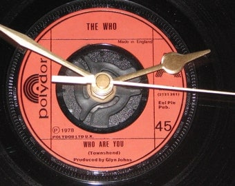 "The Who who are you  7"" vinyl record clock"