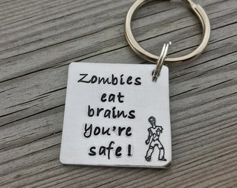 Hand Stamped Zombie Apocalypse Keyring can be personalised if preferred. The Walking dead, valentines gift, friends, Christmas