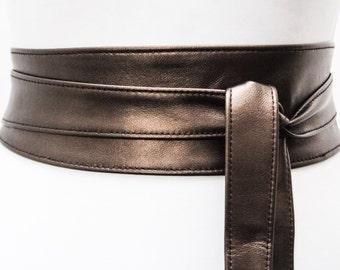 Metallic Dark Brown  Leather Obi Belt | Waist Belt | Leather waist cincher belt | Real Leather wrap Belt | Bridesmaid belt | Petite to Plus