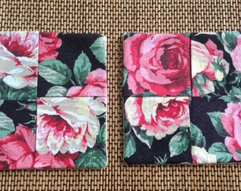 Rose Floral on black. XL mug rug set of 2. Reversible
