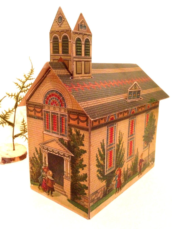 Toys For Church : Antique victorian cardboard toy church