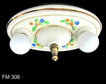 Ready To Hang Porcelain Flush Mount Light, Ceramic Light, Bathroom Light,  Bedroom Light