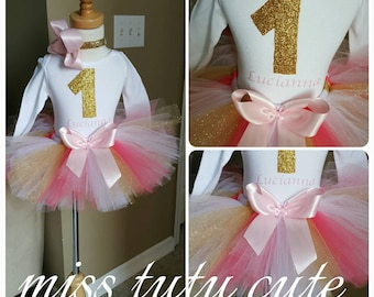 First birthday outfit in gold, coral, white, and light pink, comes with tutu headband and shirt