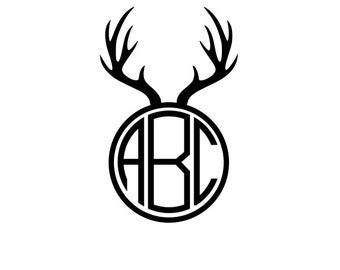 Antler Monogram SVG, Reindeer SVG, Files for Cricut Design Space, Silhouette Studio, Die Cut Machines, Instant Download of svg, dxf, & jpg