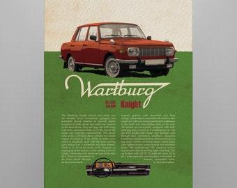 classic car on poster, digital print, Central european car, Wartburg, ddr