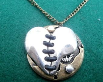 Steampunk Style Heart 'Corset' Pendant
