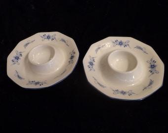 Winterling Marktleuthen Bavaria Set of 2 Candle Holders, Blue White Winterling Bavaria Candle Holders, Blue White Porcelain Candle Holders