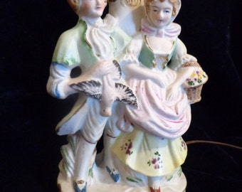 Georgian / Rococo Era Figural Porcelain Lamp, French Country Couple Figure Lamp, French Provincial Home Decor, French Country Decor