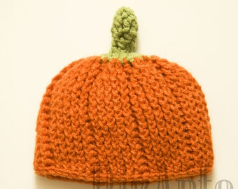 Pumpkin Crochet Hat   Baby Photo Prop   Fall Beanie
