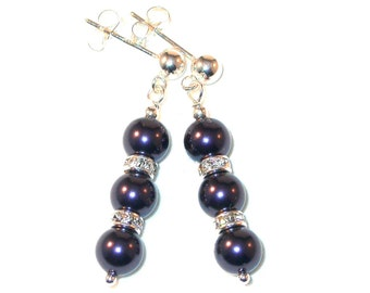 Deep DARK PURPLE Pearl Earrings Bridal Swarovski Crystal Elements Sterling Silver Dangle